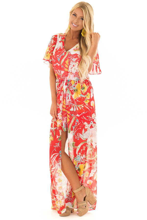Cherry Red Floral Print Romper with Maxi Skirt front full body