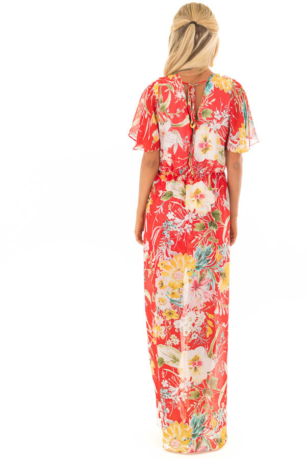 Cherry Red Floral Print Romper with Maxi Skirt back full body