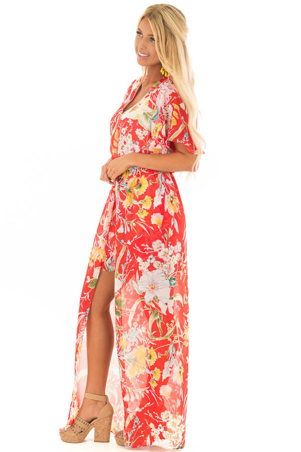 Cherry Red Floral Print Romper with Maxi Skirt side full body