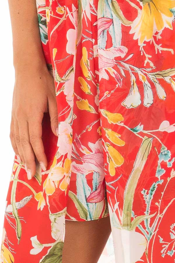 Cherry Red Floral Print Romper with Maxi Skirt detail