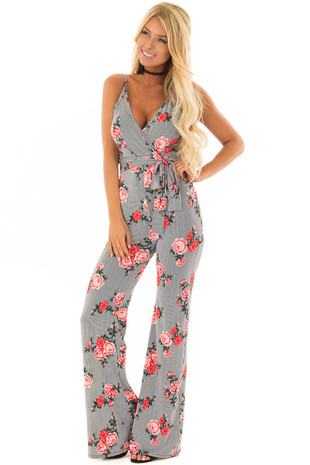 Black Stripe Floral Crossover Jumpsuit with Waist Tie Detail front close up
