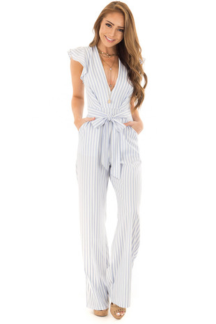 Light Blue Striped V Neckline Jumpsuit with Ruffle Sleeves front full body