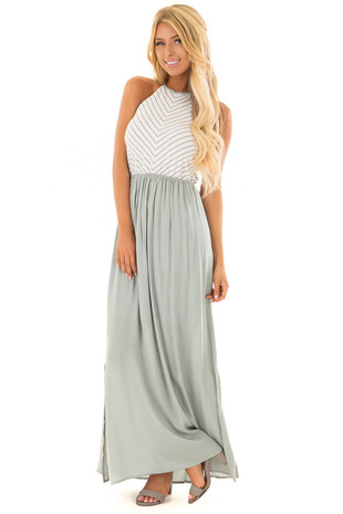 Sage Halter Maxi Dress with Ivory and Charcoal Striped Block front full body