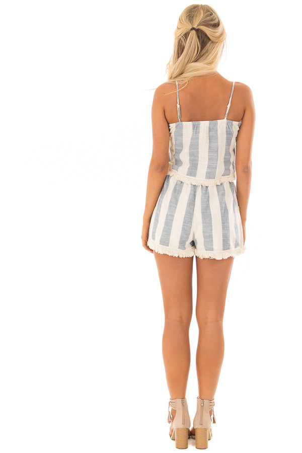 Chambray and Oatmeal Stripe Two Piece Set with Fringe Detail back full body