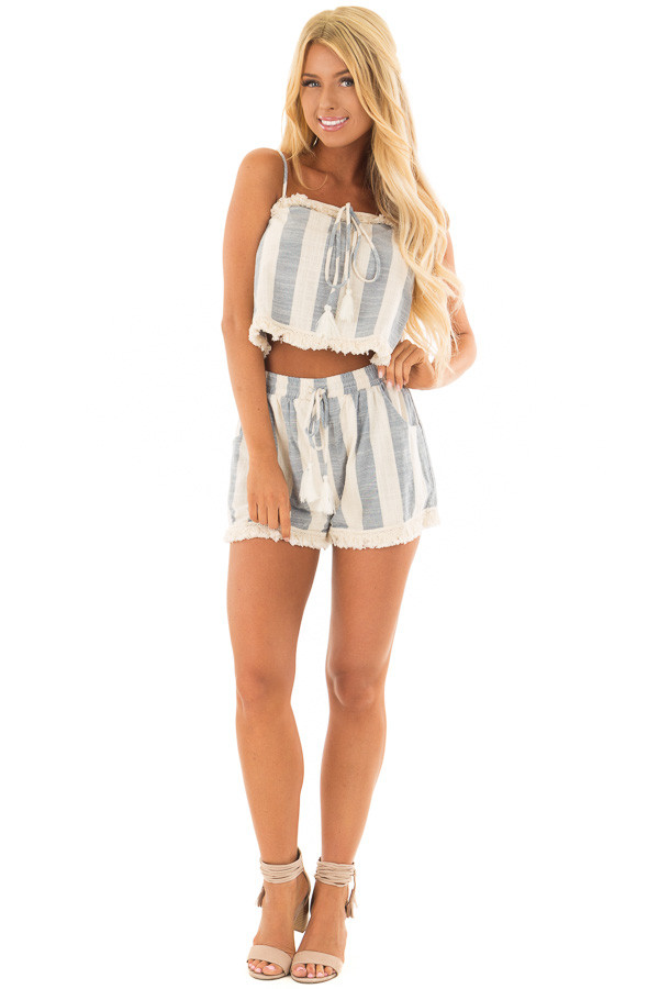 Chambray and Oatmeal Stripe Two Piece Set with Fringe Detail front full body