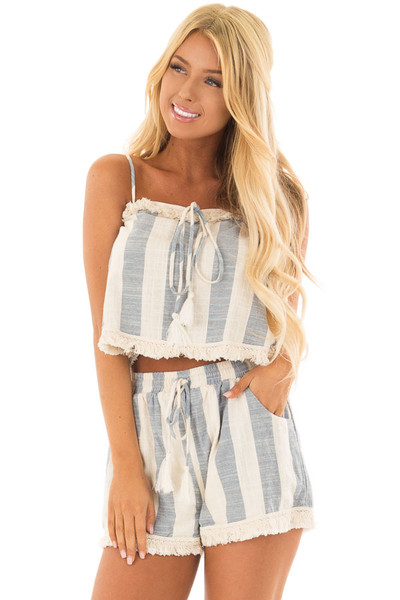 Chambray and Oatmeal Stripe Two Piece Set with Fringe Detail front close up