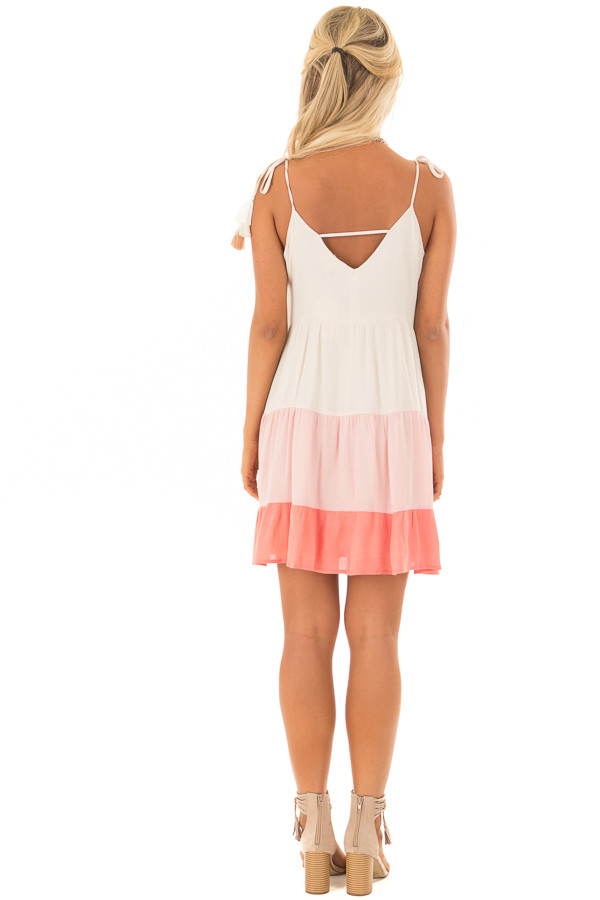 Cream and Coral Ombre Color Block Dress with Tie Straps back full body