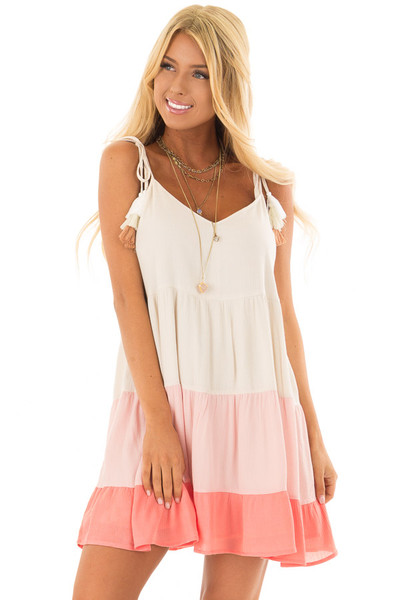 Cream and Coral Ombre Color Block Dress with Tie Straps front close up