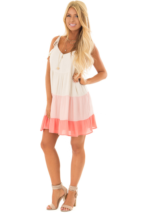 Cream and Coral Ombre Color Block Dress with Tie Straps front full body