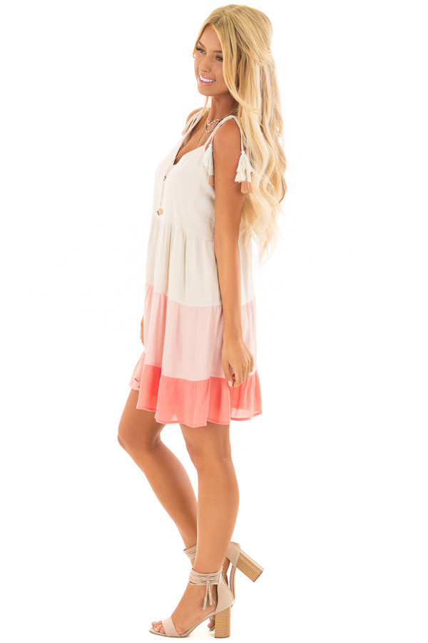 Cream and Coral Ombre Color Block Dress with Tie Straps side full body