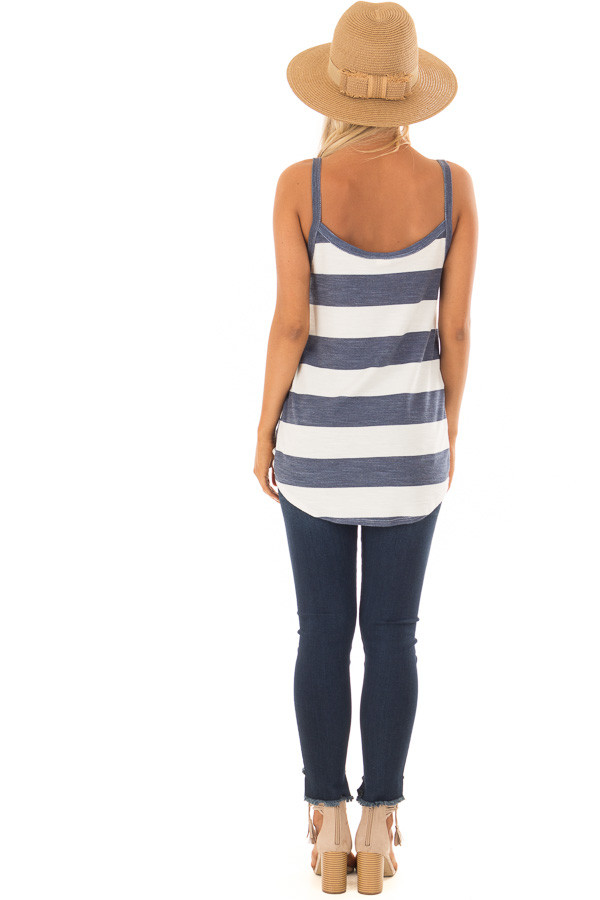 Denim and Off White Striped Tank Top with Front Twist Detail back full body