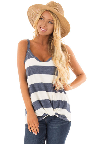 Denim and Off White Striped Tank Top with Front Twist Detail front close up