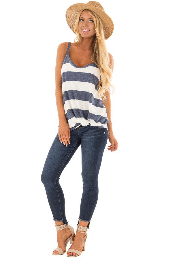 Denim and Off White Striped Tank Top with Front Twist Detail front full body