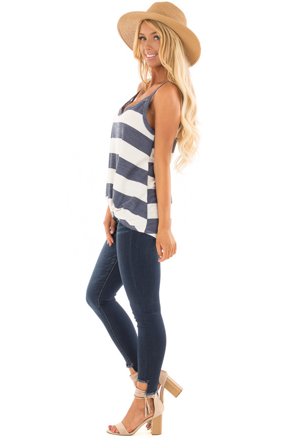 Denim and Off White Striped Tank Top with Front Twist Detail side full body