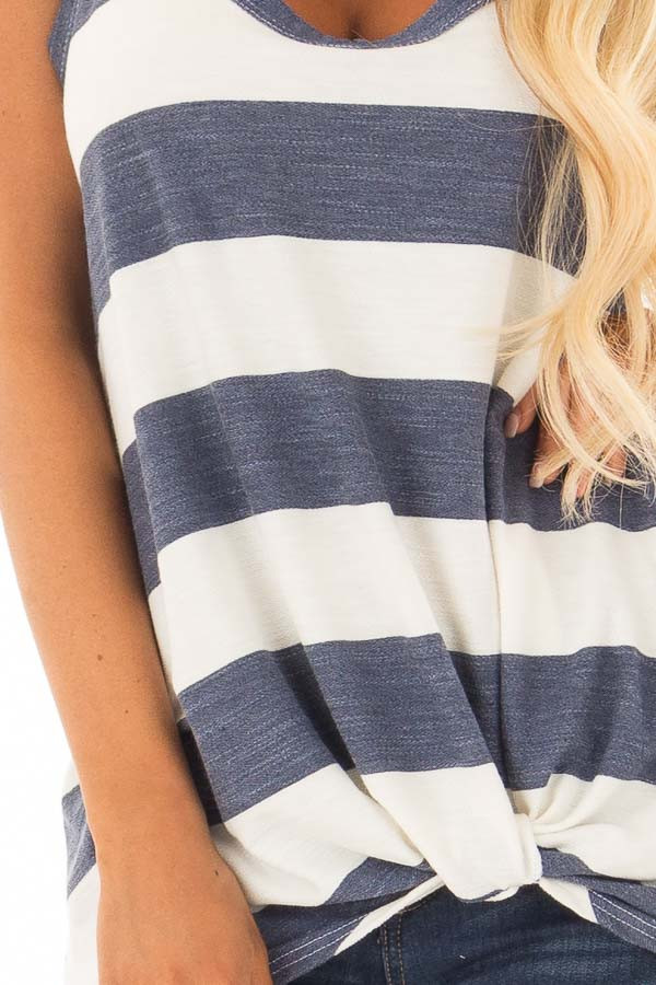 Denim and Off White Striped Tank Top with Front Twist Detail detail