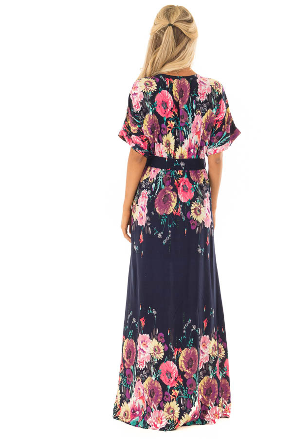 Navy Floral Print Short Sleeve Dress with Waist Tie back full body