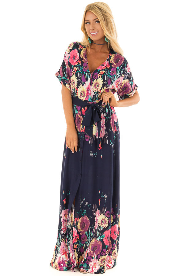 Navy Floral Print Short Sleeve Dress with Waist Tie front full body