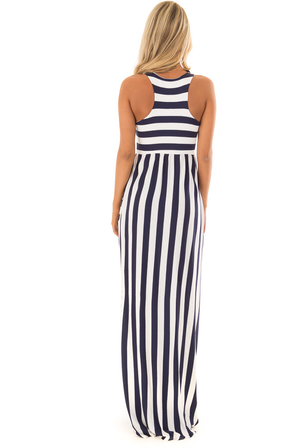 Navy and Ivory Striped Tank Maxi Dress with Side Pockets back full body