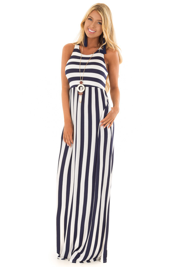 Navy and Ivory Striped Tank Maxi Dress with Side Pockets front full body