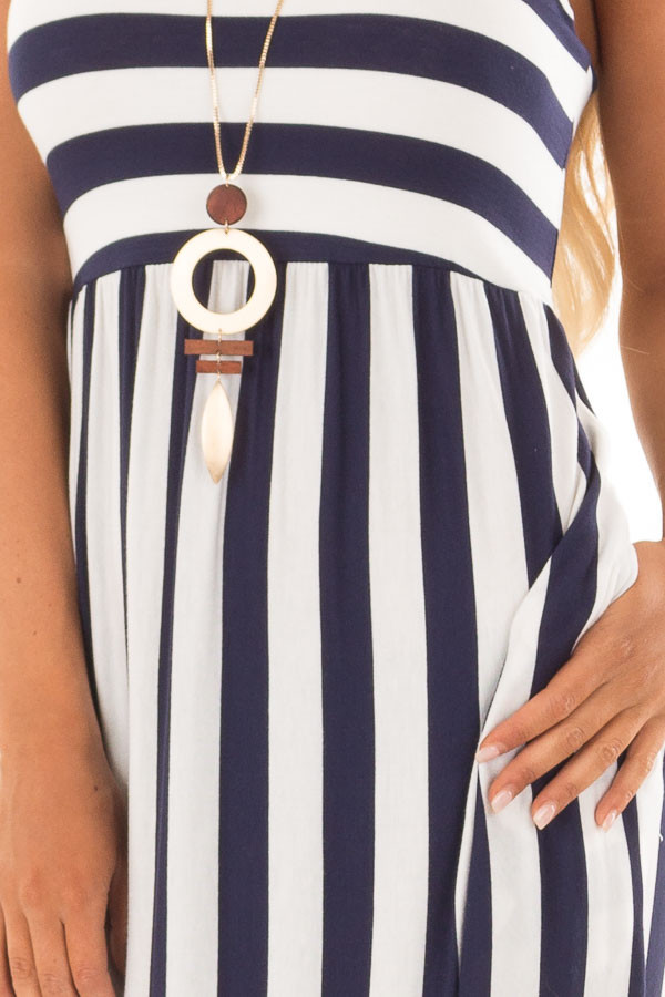 Navy and Ivory Striped Tank Maxi Dress with Side Pockets detail