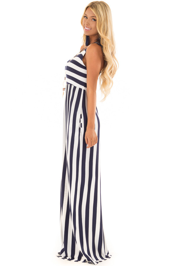 Navy and Ivory Striped Tank Maxi Dress with Side Pockets side full body
