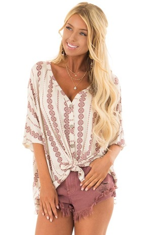 Oatmeal Button Up Top with Burgundy Striped Vertical Print front close up