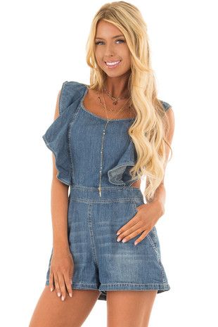 Denim Ruffle Romper with Open Back and Pockets front close up