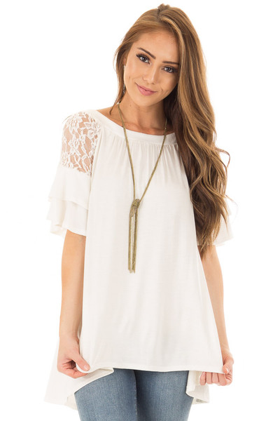Ivory Ruffle Sleeve Top with Sheer Lace Detail front close up