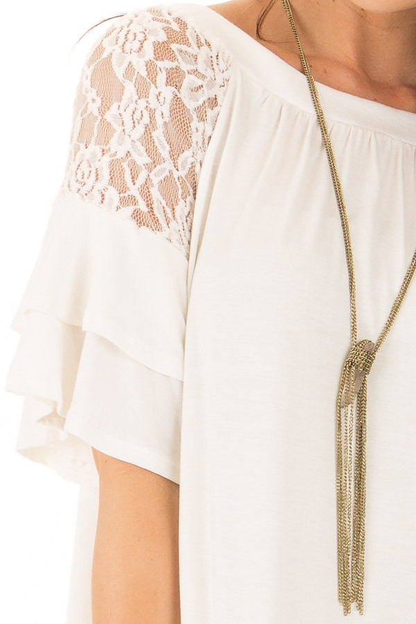 Ivory Ruffle Sleeve Top with Sheer Lace Detail detail