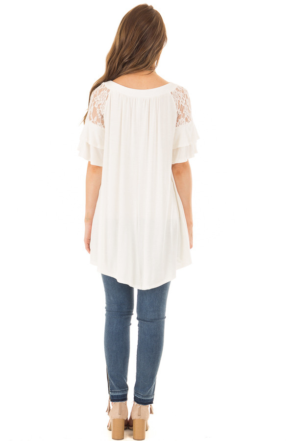 Ivory Ruffle Sleeve Top with Sheer Lace Detail back full body