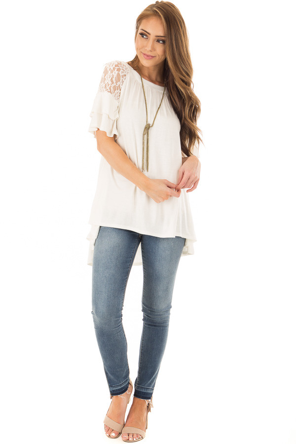 Ivory Ruffle Sleeve Top with Sheer Lace Detail front full body
