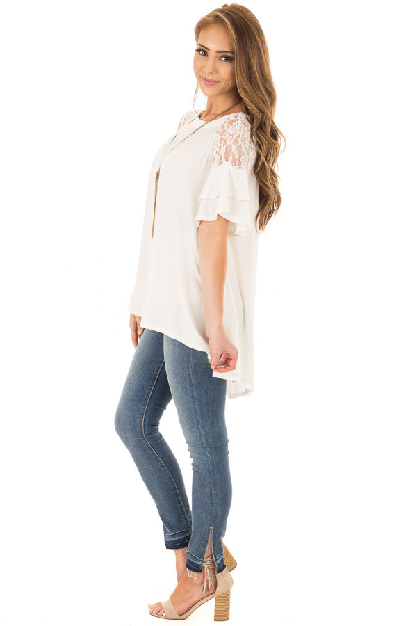Ivory Ruffle Sleeve Top with Sheer Lace Detail side full body