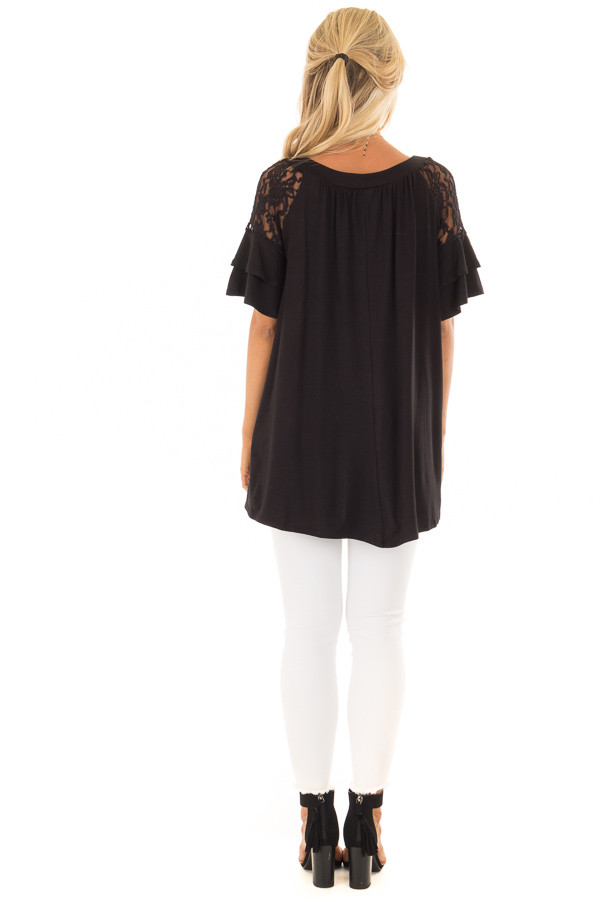 Black Ruffle Sleeve Top with Sheer Lace Detail back full body