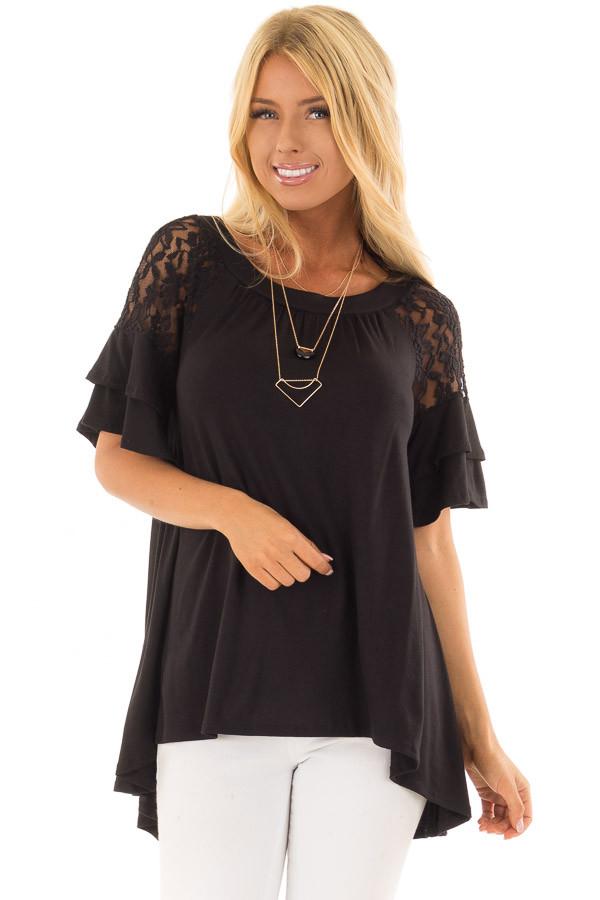 Black Ruffle Sleeve Top with Sheer Lace Detail front close up
