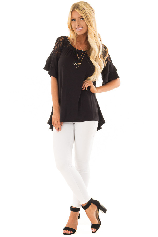 Black Ruffle Sleeve Top with Sheer Lace Detail front full body