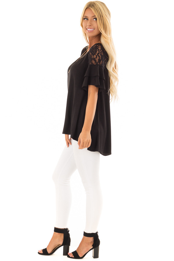 Black Ruffle Sleeve Top with Sheer Lace Detail side full body
