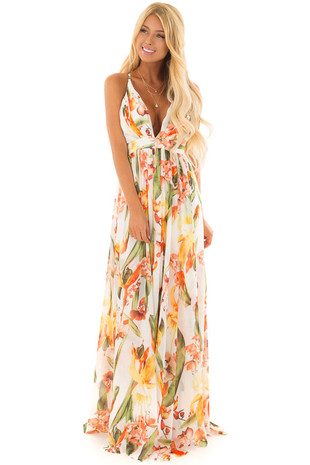 Off White Tropical Print Open Back Maxi Dress front full body