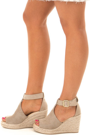 Clay Faux Suede Peep Toe Braided Wedge side view