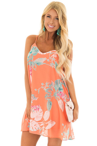 Coral Floral Print Sleeveless Swing Dress front close up