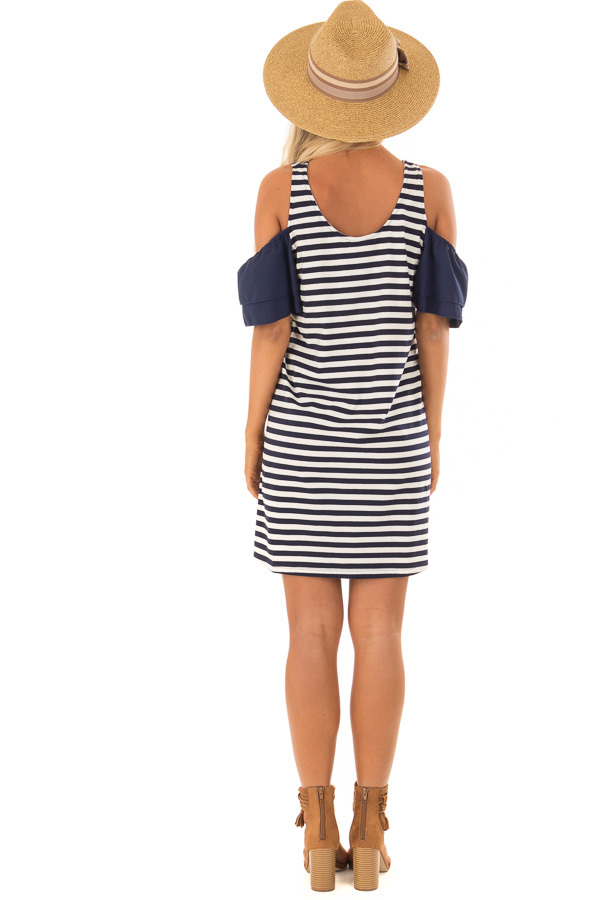 Navy and White Stripe Cold Shoulder Dress back full body