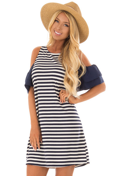 Navy and White Stripe Cold Shoulder Dress front close up