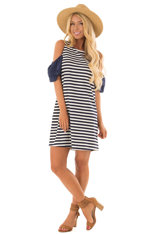 Navy and White Stripe Cold Shoulder Dress front full body