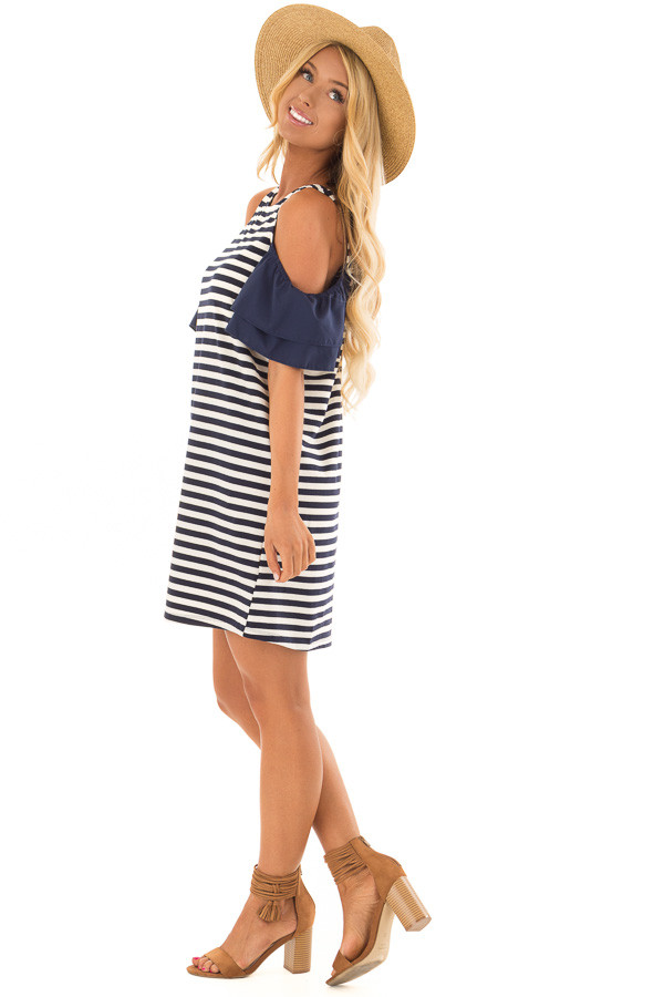 Navy and White Stripe Cold Shoulder Dress side full body