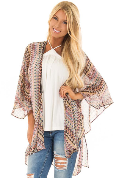 Multicolor Tribal Print Kimono with Trim Detail front close up