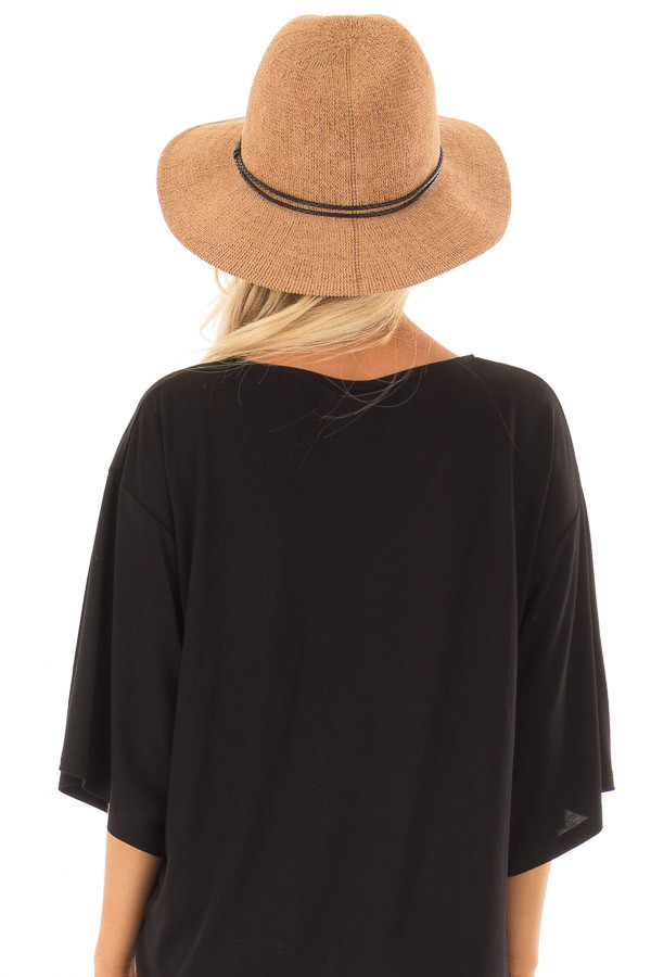 Camel Knitted Velvet Panama Hat with Black Trim back view