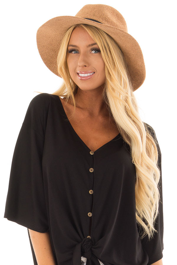 Camel Knitted Velvet Panama Hat with Black Trim front view
