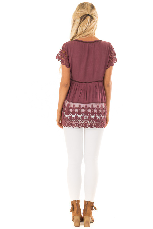 Deep Plum Short Sleeve Top With Sheer Lace Detail back full body