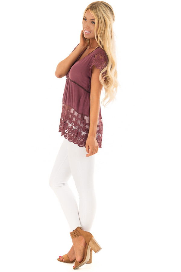 Deep Plum Short Sleeve Top With Sheer Lace Detail side full body