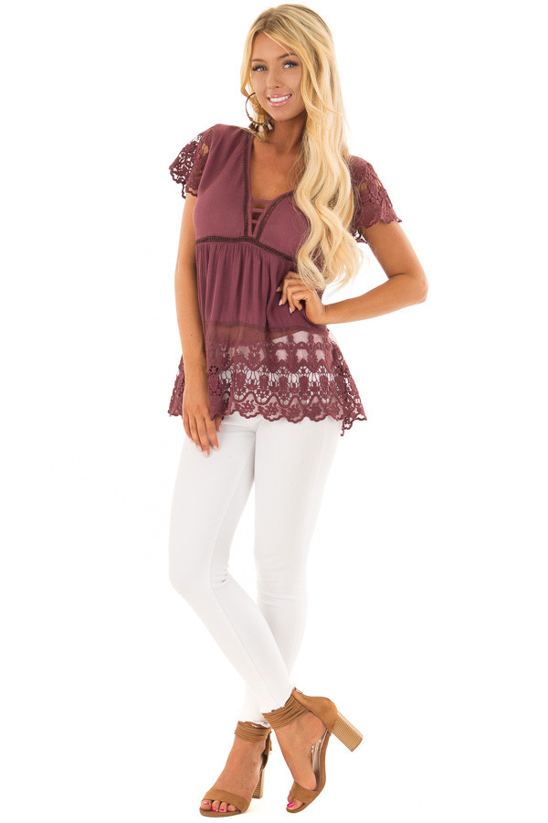 Deep Plum Short Sleeve Top With Sheer Lace Detail front full body