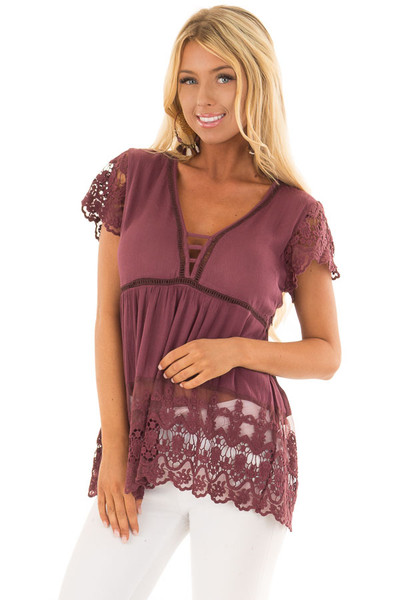Deep Plum Short Sleeve Top With Sheer Lace Detail front close up